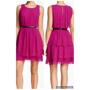 Jessica Simpson Fuchsia Ruffled Dress